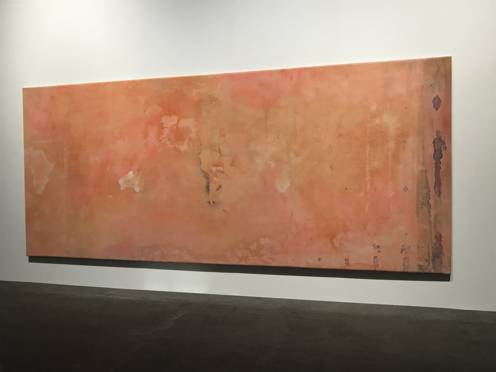 Frank Bowling,  False Start , 1970 on display at Alexander Gray Associates - Basel | Unlimited 2018 Painting, Acrylic and spray paint on canvas, Size 534.0 × 223.0 cm / 210.2 × 87.8 in