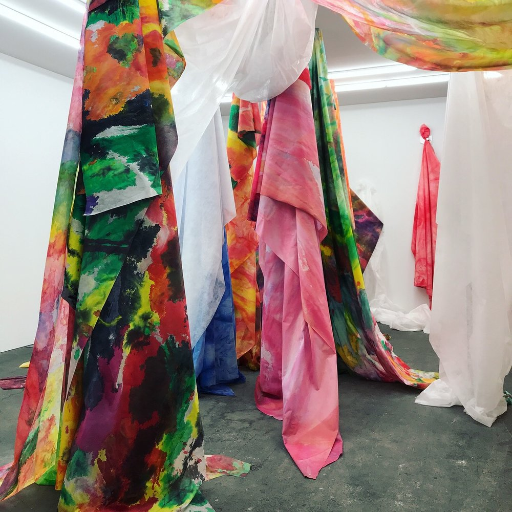 Sam Gilliam,  Untitled  drape works, 2018 on display at David Kordansky Gallery - Basel |Unlimited 2018 Acrylic-on-Cerex nylon
