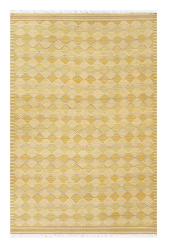 Spättan carpet designed, Sweden, 1943, on display at Nilufar stand, Design Miami 2018  Design: Barbro Nilsson Manufactured by AB Märta Måås-Fjetterström Signed AB MMF BN; Hand woven Wool; Size: 300 x 452 cm / 118.1 x 177.9 in  ⓒ Nilufar Gallery