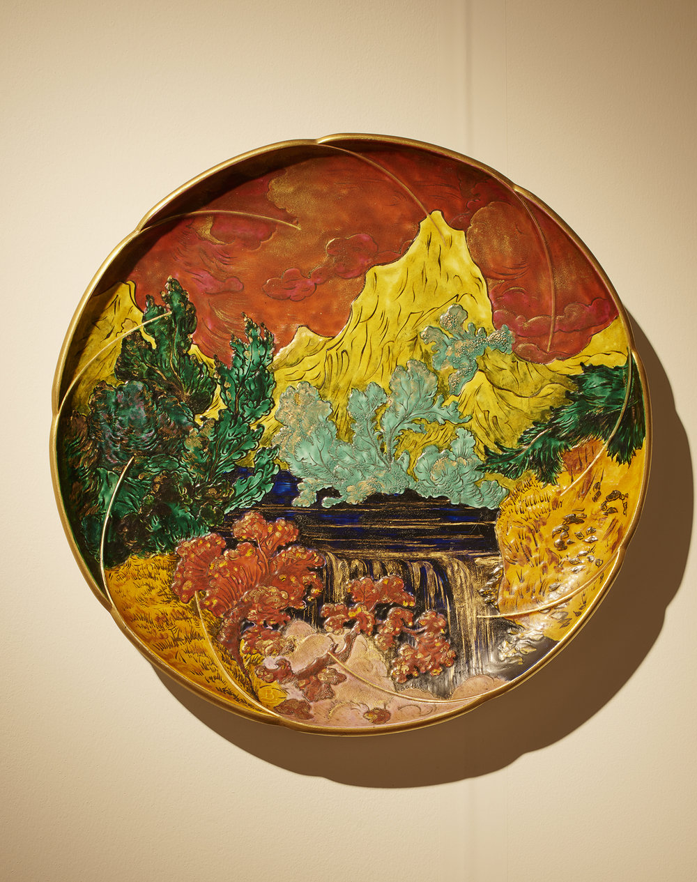 Robert Zehil Gallery - Design Miami/Basel 2018  Important plate 'Landscape', Felix Bracquemond, cca 1874 - 76 Hard paste porcelain, manufactured at Halivand & Cie in the Auteuil workshop 50 cm dimaeter; Monogrammed B ⓒ  James Harris