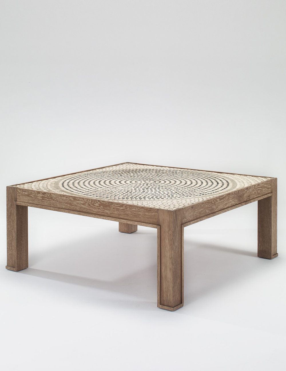 Coffee table, Jacques Adnet and Jacques Lenoble, ca 1950 ⓒ Galerie Eric Philippe Oak and ceramic tiles; size 109 x 109 x 45.5 cm
