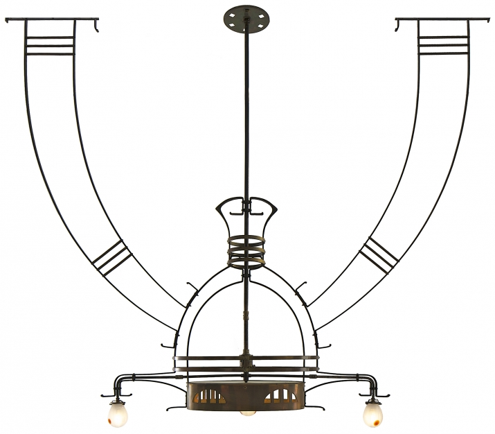 Chandelier, Gustave Serrurier-Bovy, ca. 1900,  Brass and iron 176 x 27 x 175 cm  Courtesy of Galerie Régis Mathieu