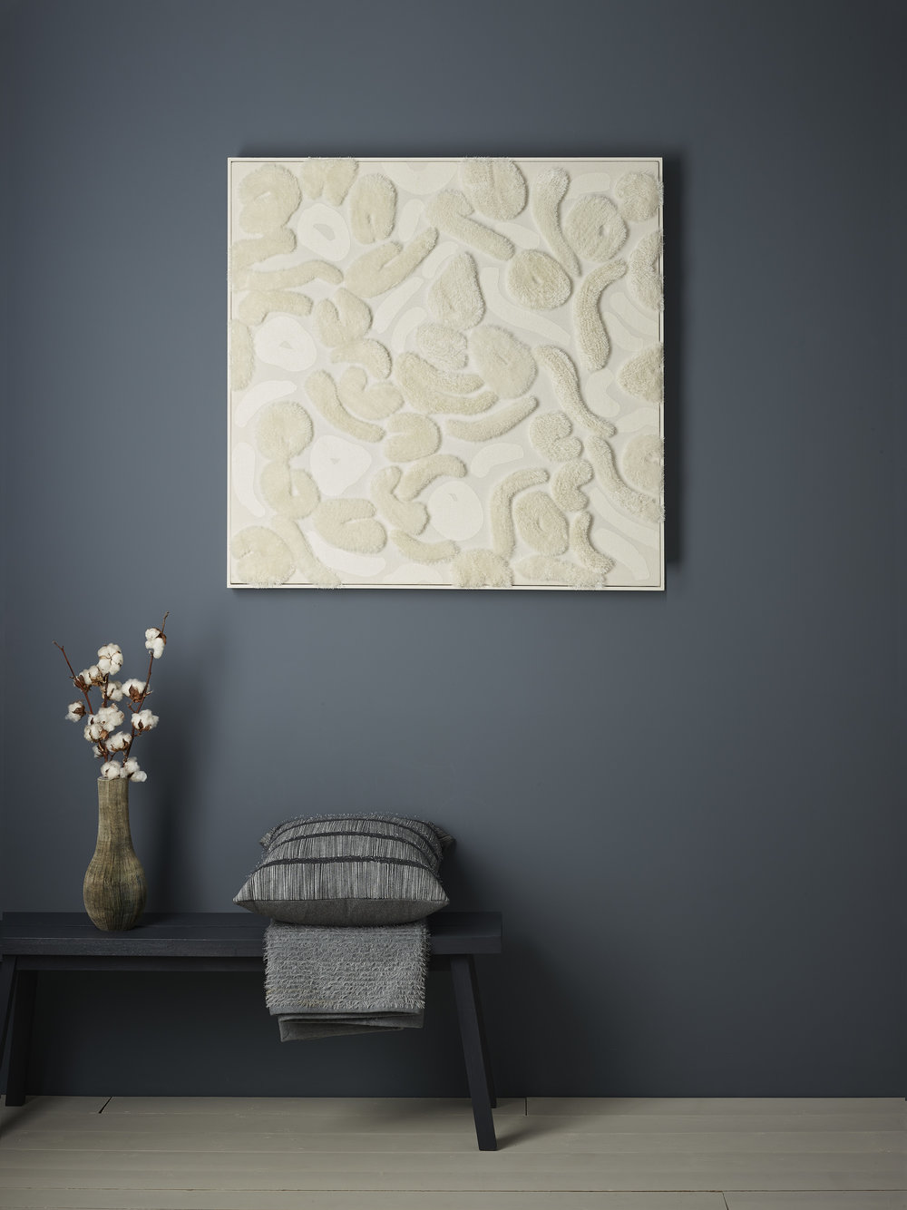 Anna Gravelle's 'Aerial Pearl' wall art with soft furnishings ©Anna Gravelle