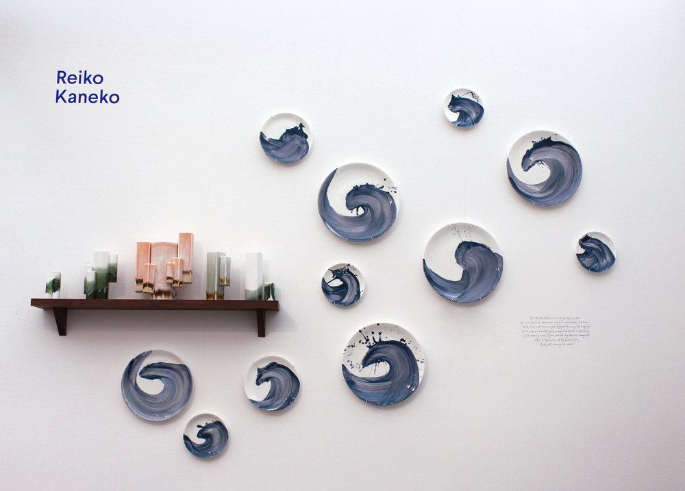 Reiko Kaneko Wave plates and Balancing act on display at Decorex 2018 ©Reiko Kaneko