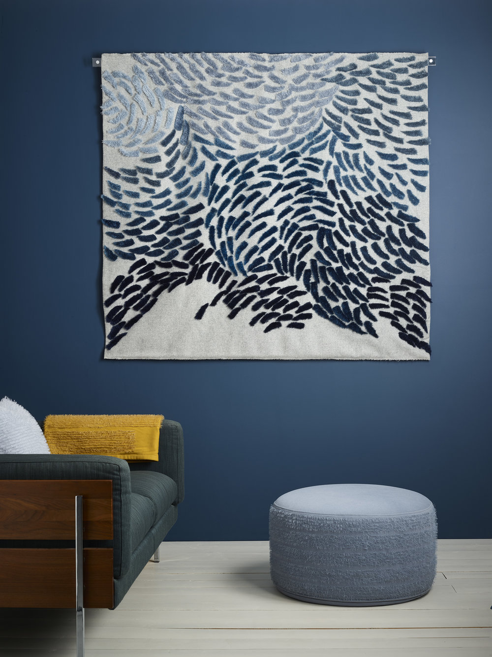 Anna Gravelle's 'Murmuration' wall art and soft furnishings ©Anna Gravelle