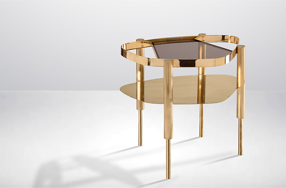 BIJOU side table - solid brass legs with the upper section brushed, the lower sections fine polished.© OKHA