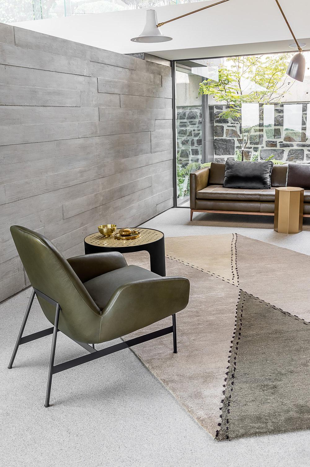 Diamond  rug with Silo Coffee Table & Nicci Armchair © Niel Vosloo
