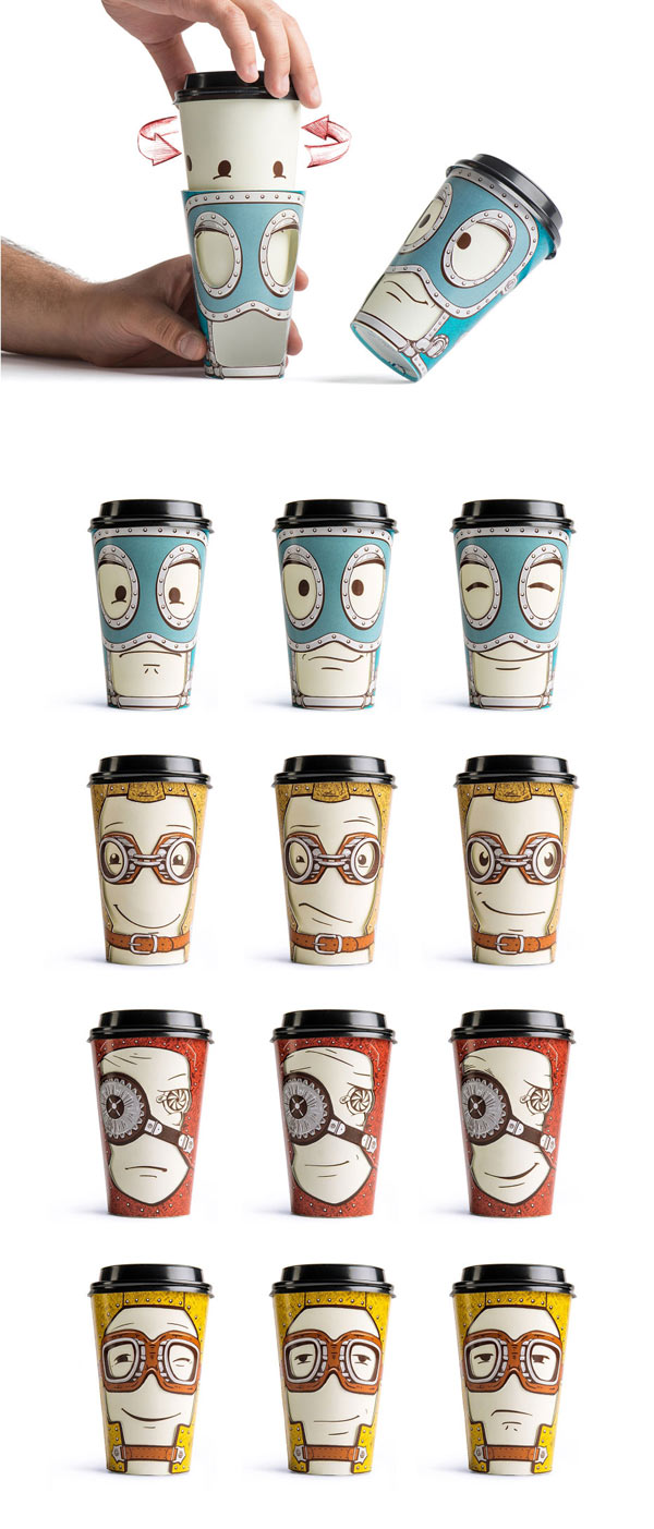 weandthecolor: Gawatt Cups Backbone Studio has created a series of souvenir cups with altering emotions for the Gawatt take-out coffee-shop. Check out more images and information here. Find WATC on: Facebook I Twitter I Google+ I Pinterest I Flipboard I Instagram