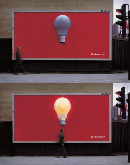 "thoughtsofaserialthinker :     Outdoor Ad [The Economist/""Eureka""]: The Economist always has the coolest ads as simple as they are."
