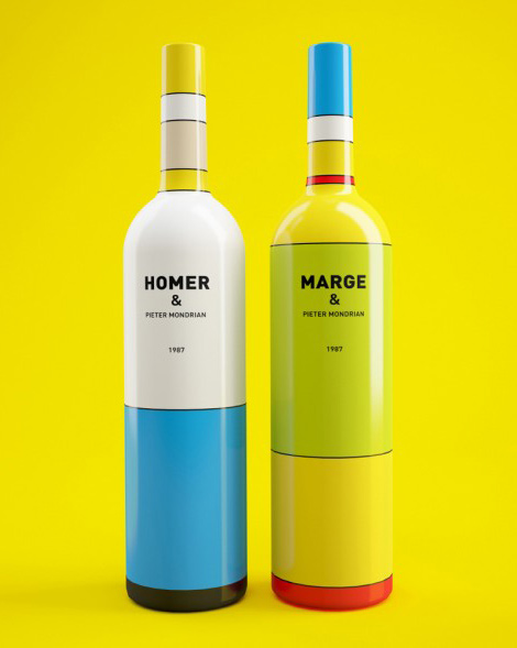 designcloud: Mondrian inspired Homer & Marge wine bottles  designed by Constantin Bolimond.