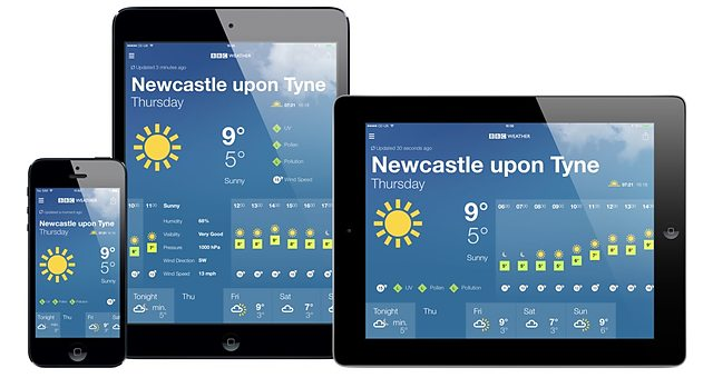 BBC Weather app in portrait on iPhone & iPad Mini and in landscape on iPad