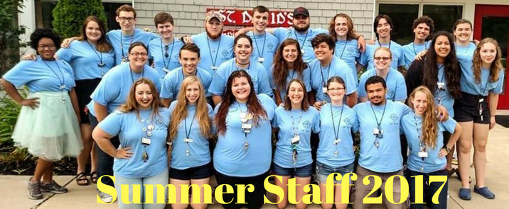 2017 Summer Camp Staff Left to Right Row 1: Maya, Anna, Heather, Victoria, Hannah, Wes, and Emma Row 2: Sarabeth, Mark, Dani, Erin, Nick, Victoria, Karli, and Rosie Row 3: Jordan, Juli, Cyrus, Ethan, Tanner, Eric, Jonah, Ben, Evan, Walker, and Abby