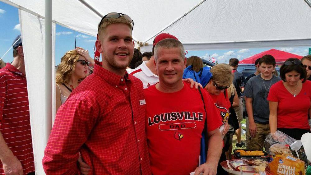 Brother Shelby LaFollette with his father Wendell at Parent's Day Tailgate.