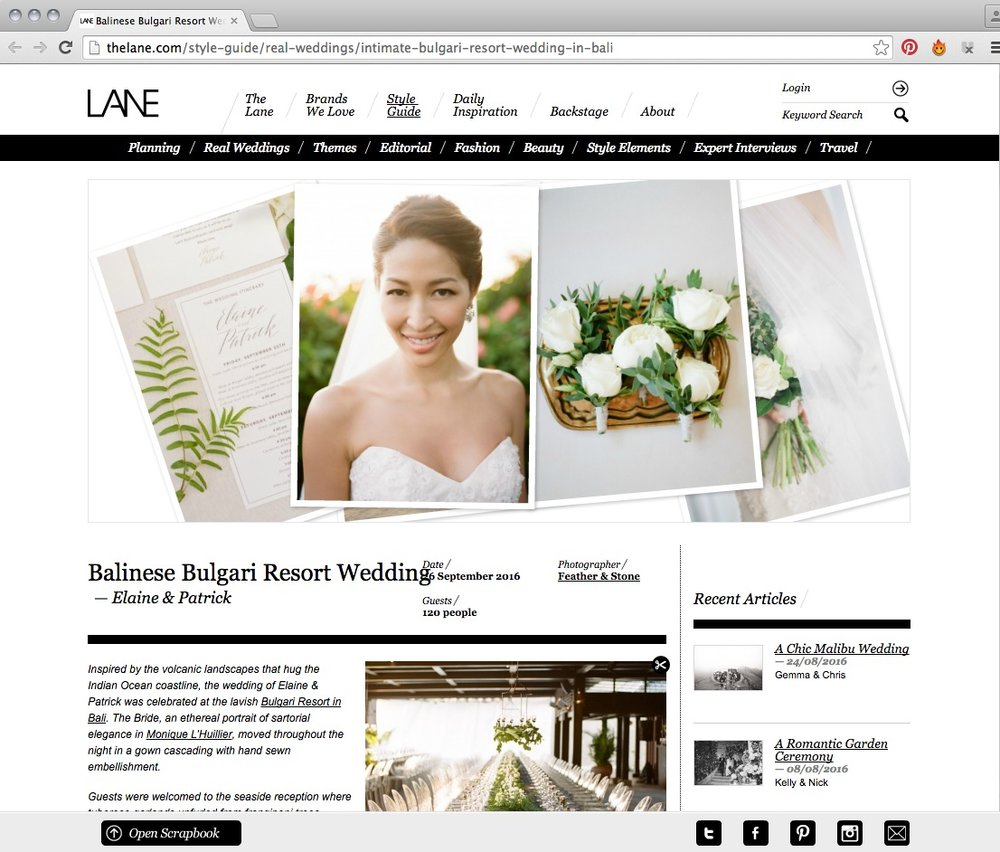 Our first real wedding with Feather & Stone Photography, shot at Bvlgari Resort Bali was a creative explosion of unique bits and pieces and custom production.   Elaine and Patrick entertained to perfection, 100 close family and friends on the cliffs of Uluwatu.