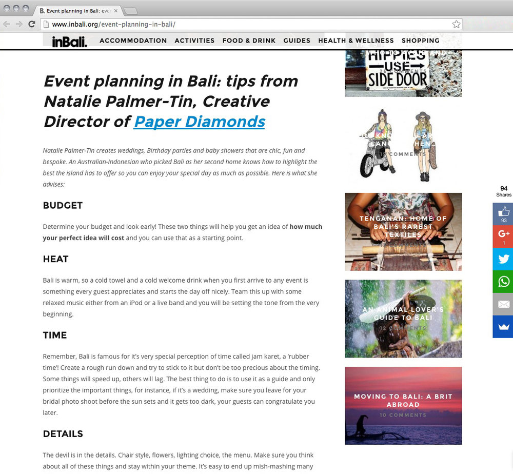 inBali is a great resource for everything in Bali! This is Nat's first interview on the island.