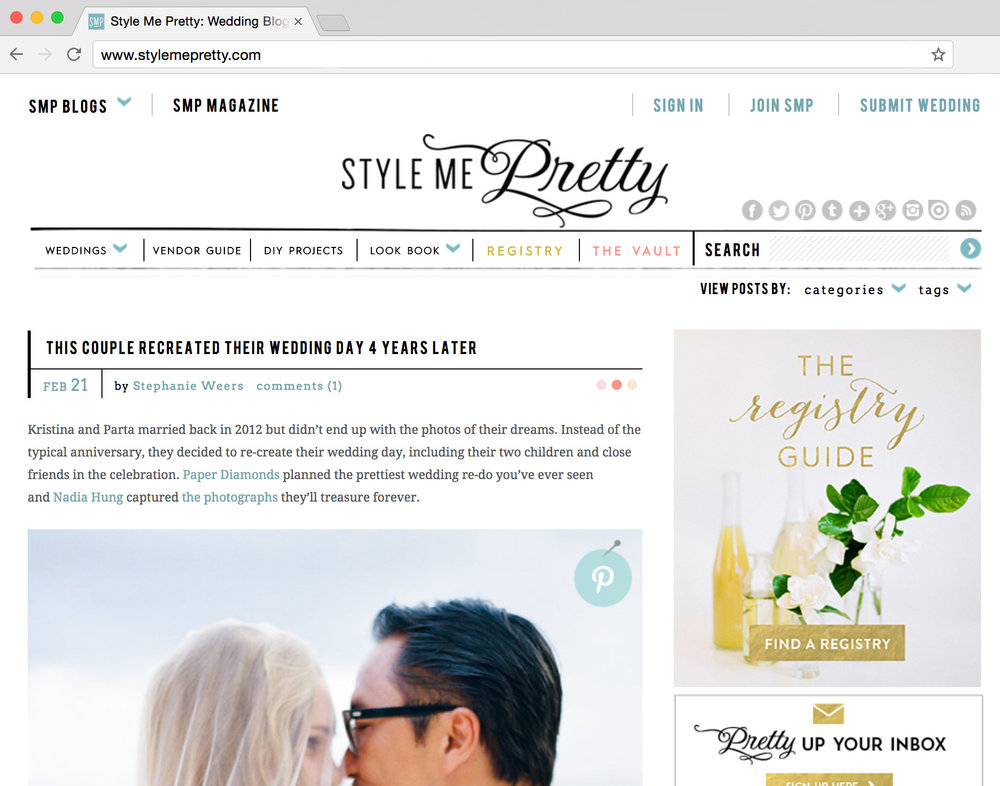 FRONT PAGE OF STYLE ME PRETTY  Kristina & Parta are friends of ours in Bali and after a wedding on the cliffs that resulted in images that were less to be desired, we re-created their special day, with her bridesmaids and their two beautiful children. From Ubud in the morning, to Uluwatu for sunset. It doesn't get more high-fashion Bali then this. With Nadia Hung Photography and Jill Loves Lace floristry work.