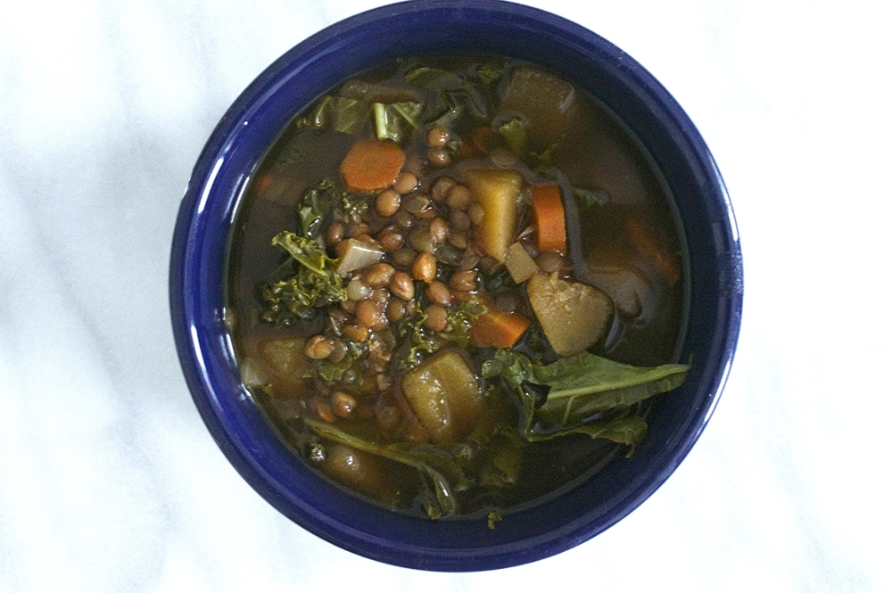 sweet-sour-slow-cooker-lentil-vegetable-soup-whole-bowl-overhead-molasses-and-mayhem.jpg