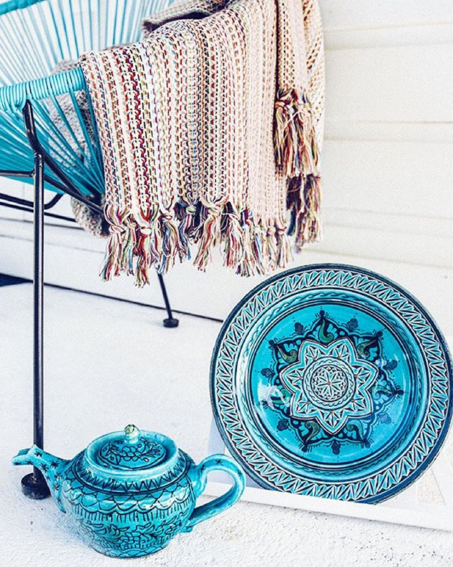 Got the Monday blues? This gorgeous selection of wares might cheer you up! All available on our online store, link in bio.  #myglobalmerchant #turky #throw #teapot #tea #turkishtea #plate #blue