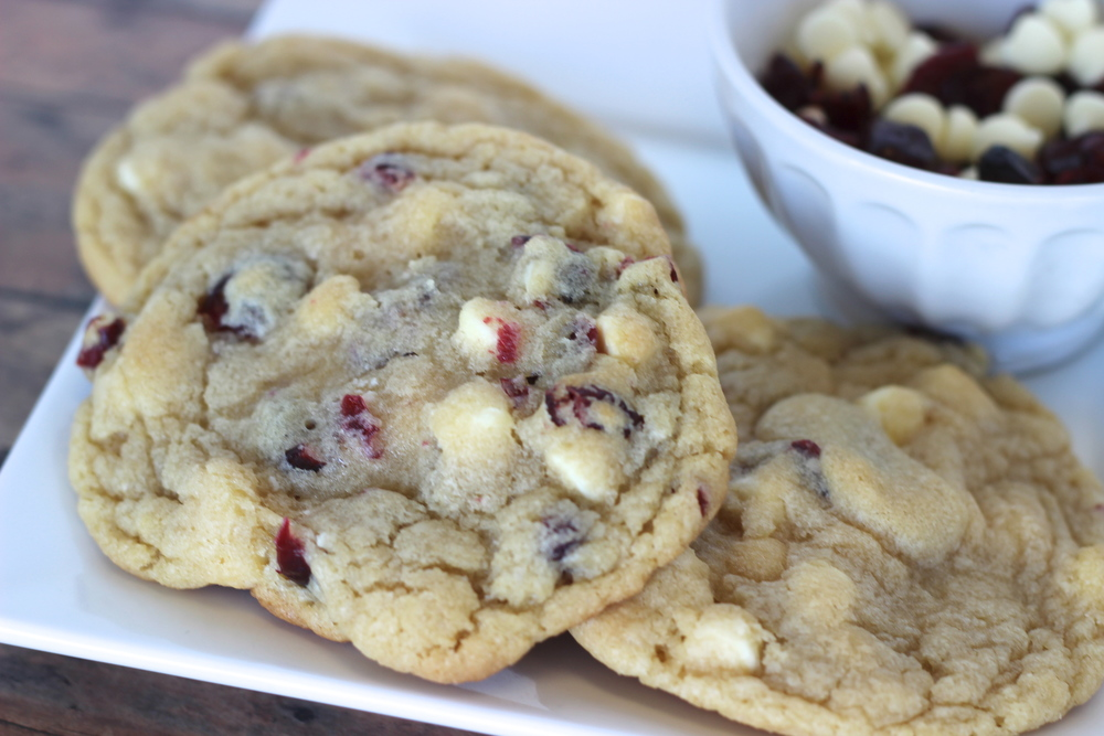 White Chocolate Cranberry White chocolate chip cookie loaded with cranberries.