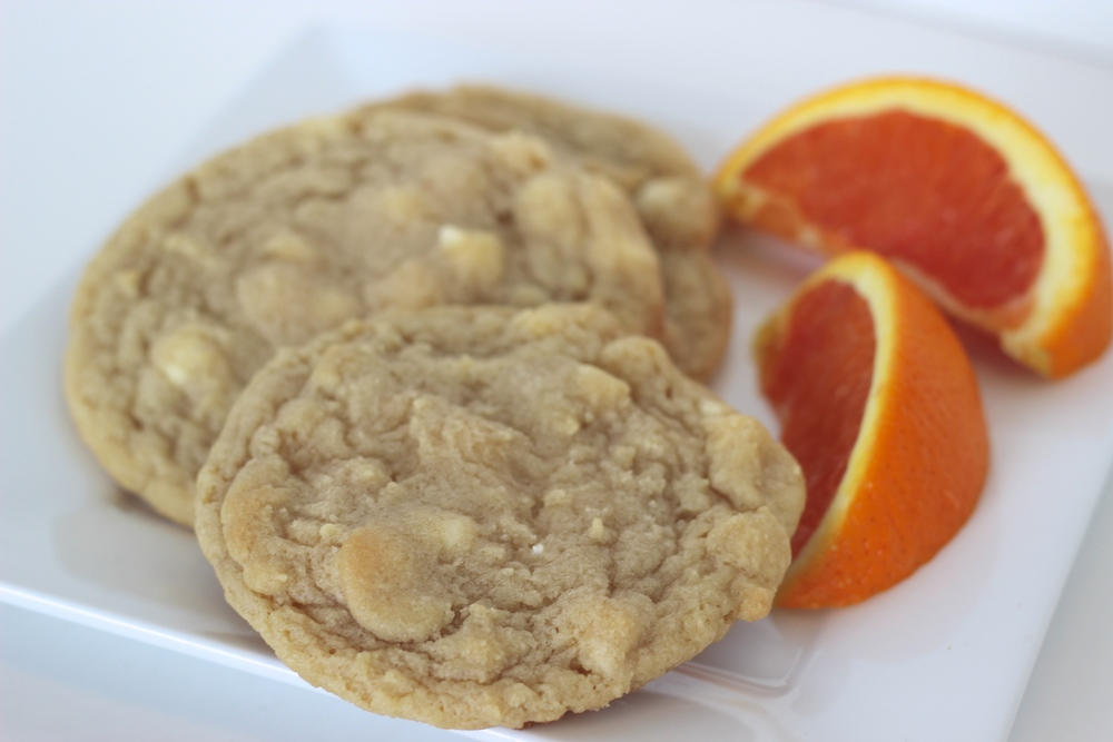 Orange Creamsicle Orange cookie filled with Belgian white chocolate chips.