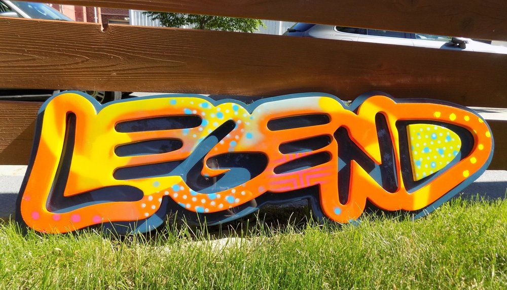 """""""Legend"""" Aerosol on sintra topped with resin. 2018 (SOLD)"""