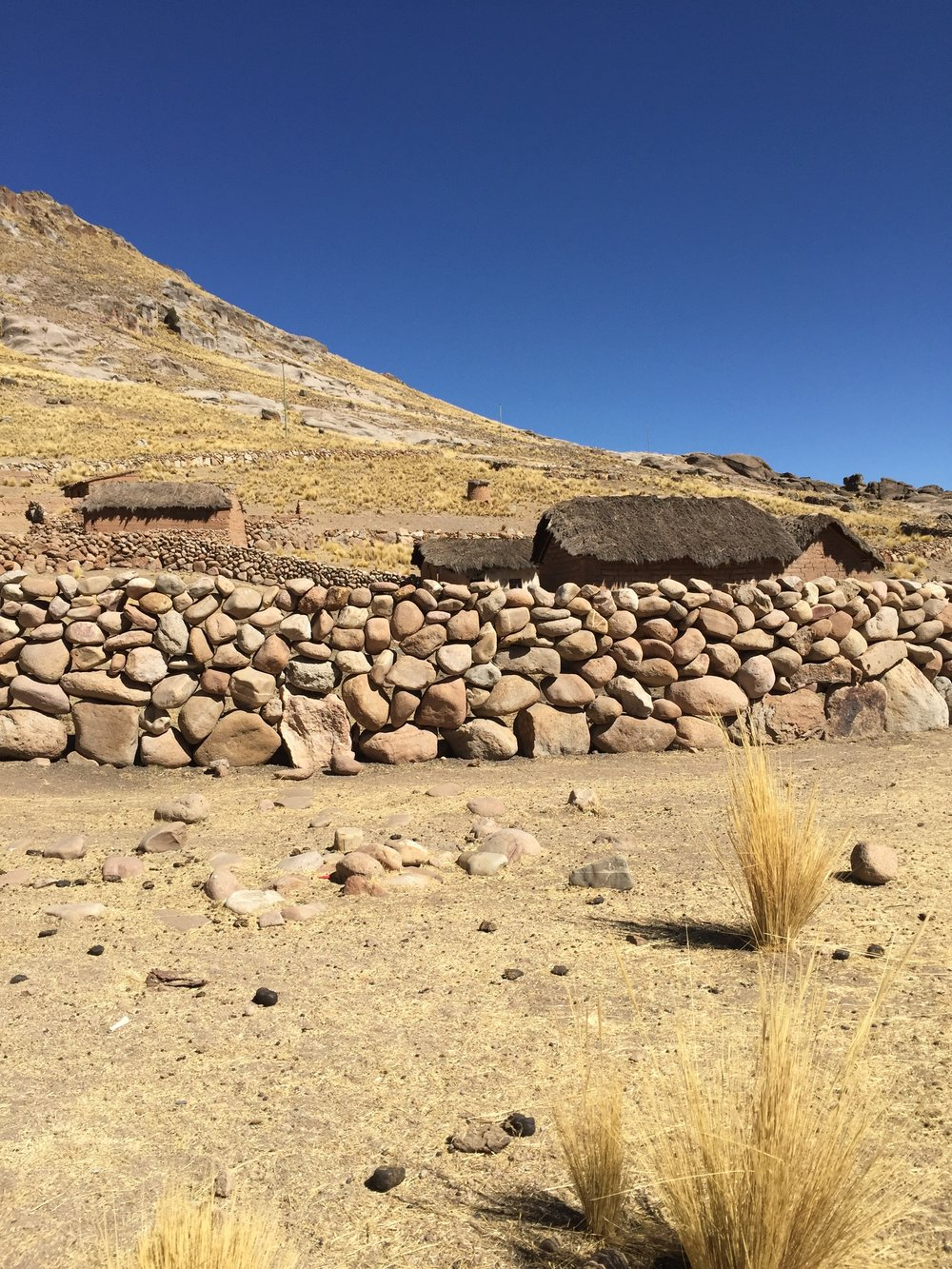 Dry joint stone masonry walls serve as llama pens among the thatched roof adobe homes of the Indigenous village of Coiyuma at 13,000+ feet.    Coiyuma, Bolivia