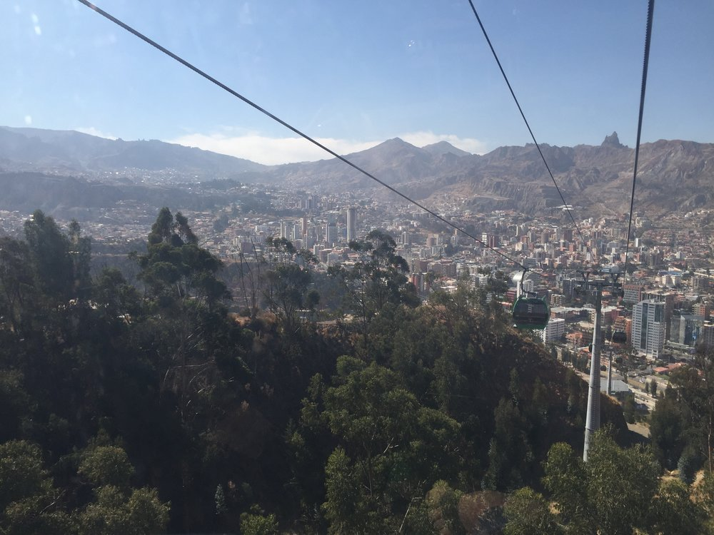 The Teleferico provides the primary mass transit of La Paz, carrying passengers from the higher elevations at the rim of the expansive city down several thousand feet of elevation into the various urban centers of the dense metropolis.
