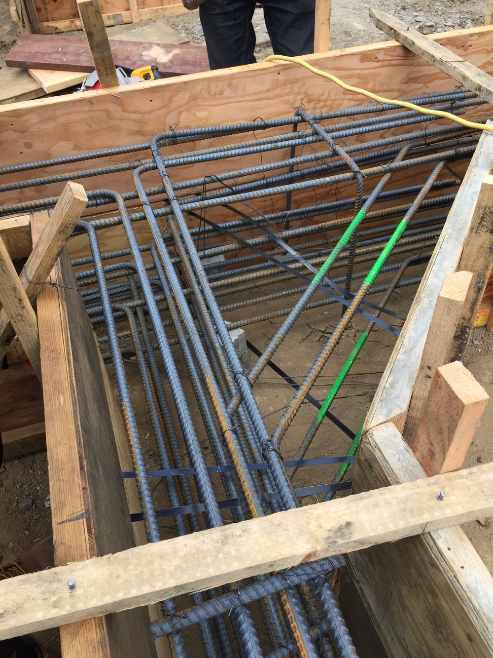 An impressive array of rebar for 1,300 square feet of single-family residential addition.