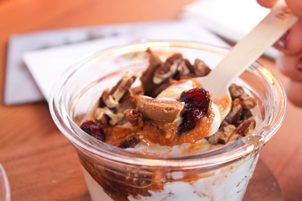 Stop in for a seasonal treat! Pumpkin and Cranberry creation at Chobani Soho.