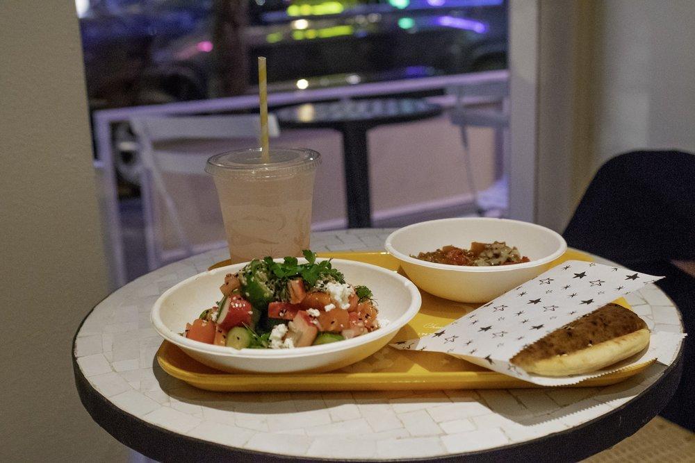 Seeds & Veg Salad, Rose Lemonade, and Tomato Mez.