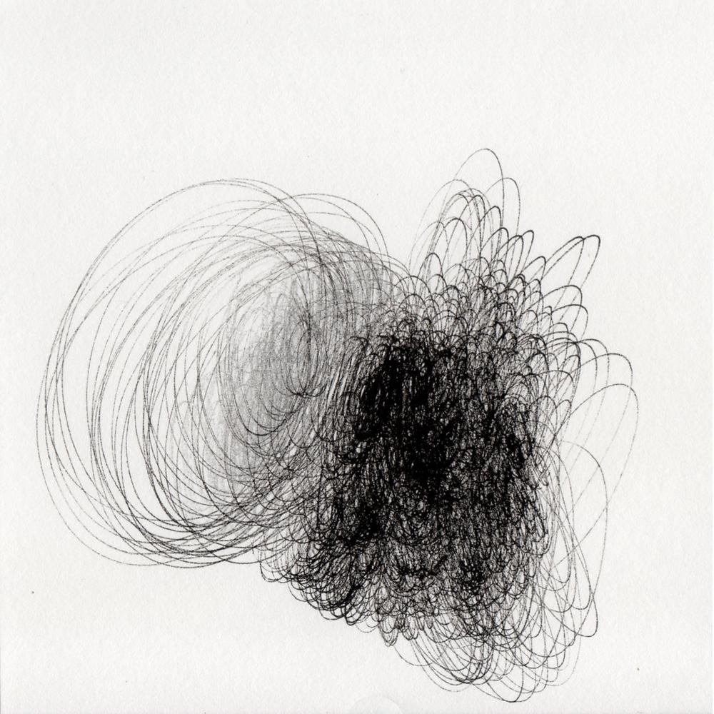 "blob 2  pen on paper 5"" x 5"" 2014"
