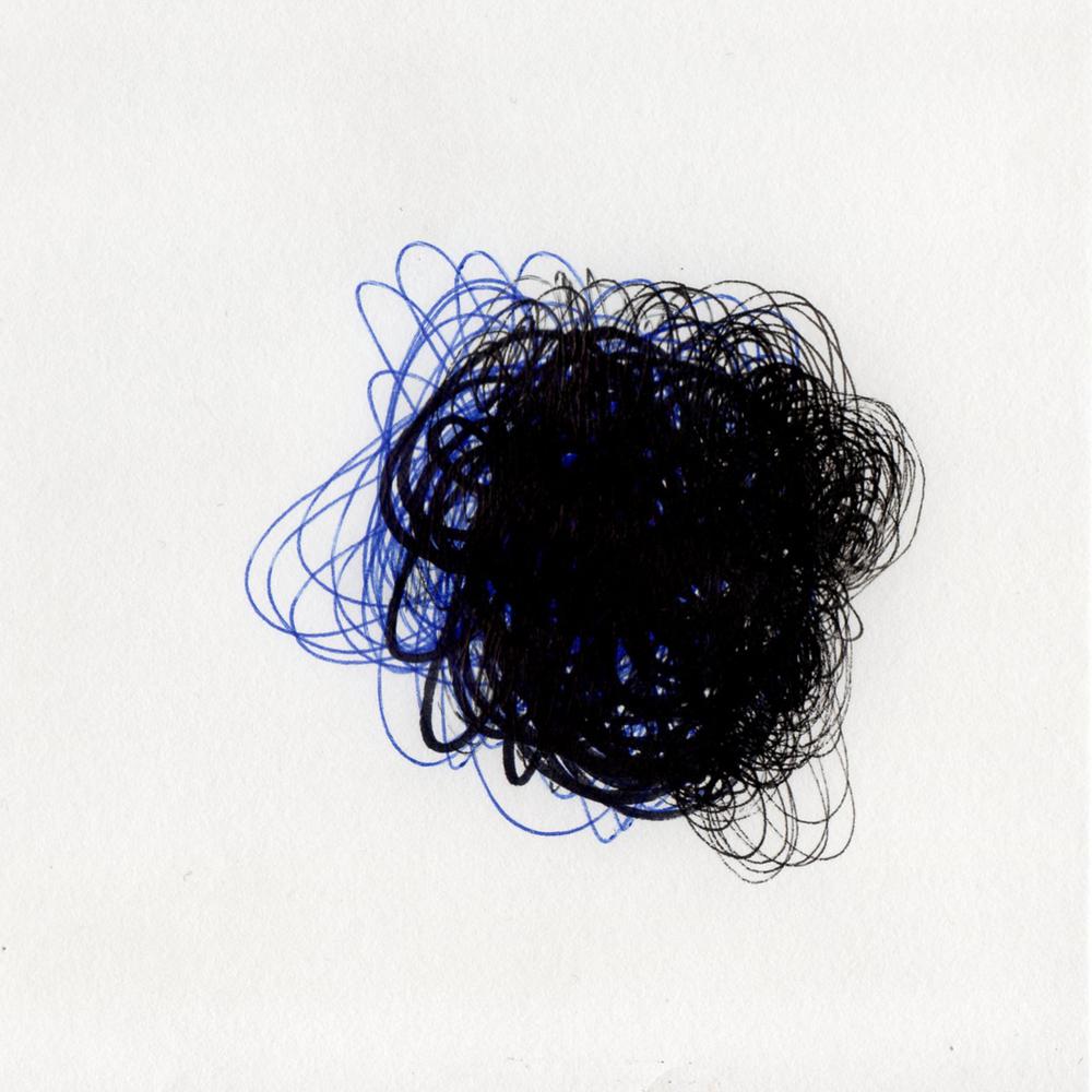 "blob 5  pen on paper 5"" x 5"" 2014"