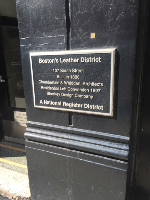 The plaque for the Leather District on South Street
