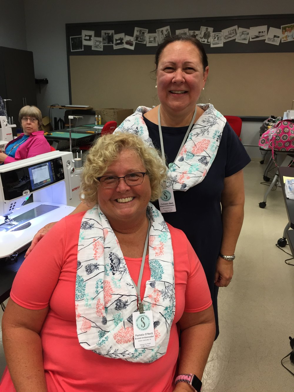 Not only did we wear the same scarf, we were sewing partners that had the common bond of being the mother to large families - 8 for Pamela O'Neil and 9 for me