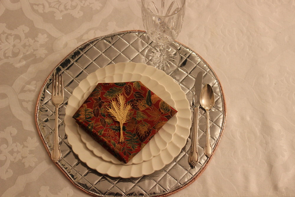 "Plates from the restaurant owned by Henry Ford. Freestanding ""Harvest Wheat"" design by Sonia Showalter."