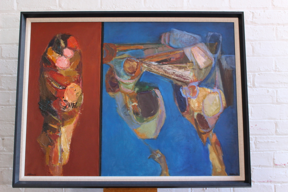 Cyril Wilson diptych - 'Ae Fond Kiss and Then We Sever' - oil on canvas - 1969