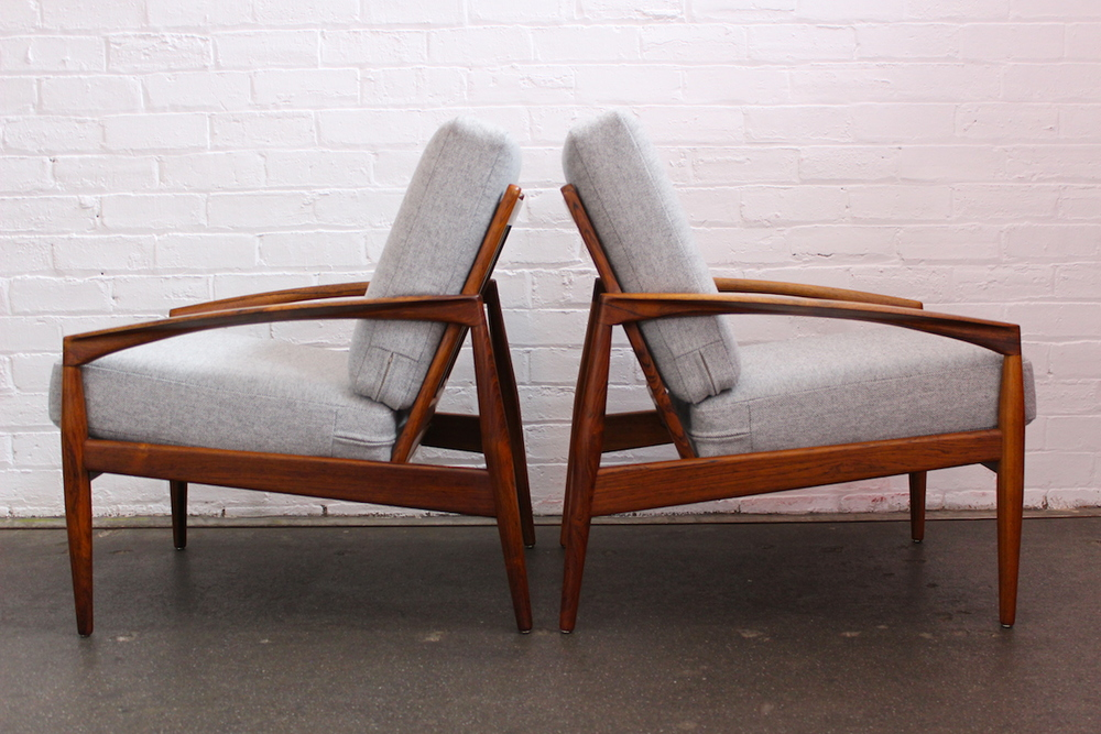 Pair of Kai Kristiansen 'paper knife' lounge chairs