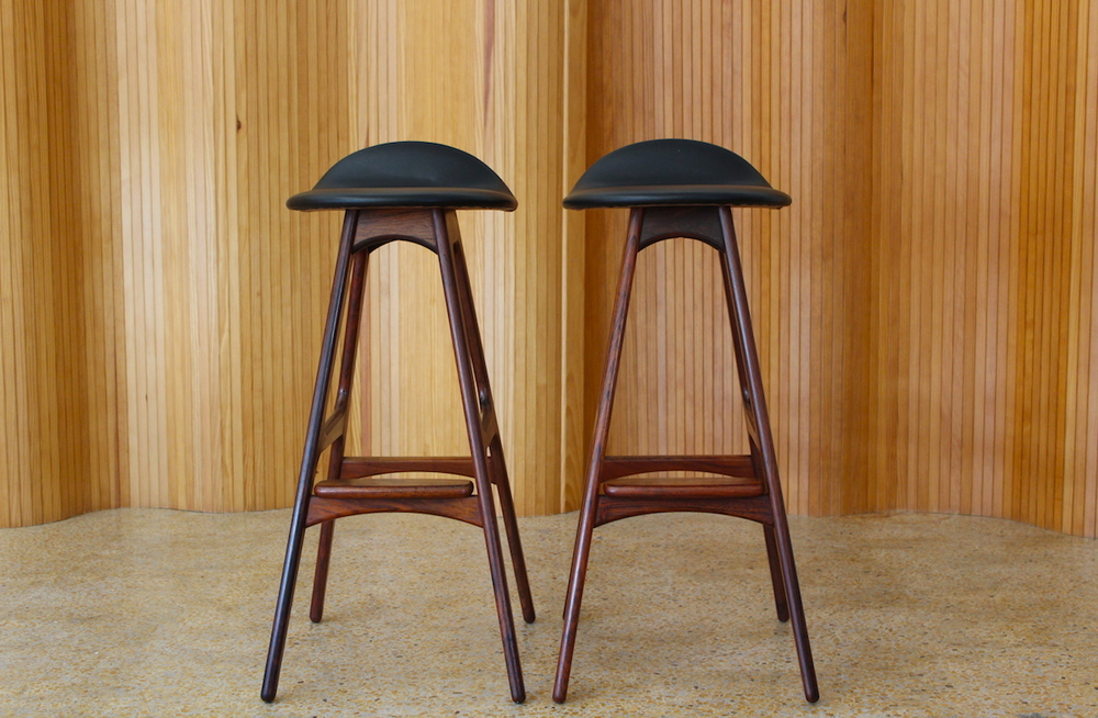 Pair of rosewood Erik Buch bar stools