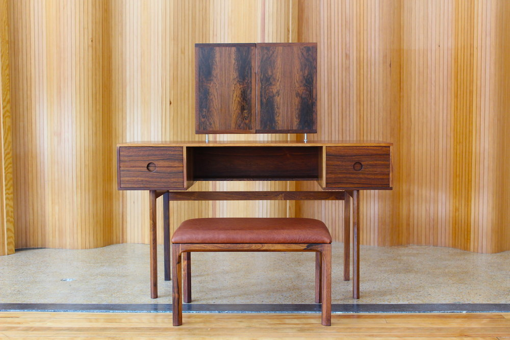 Aksel Kjersgaard rosewood dressing table and matching stool