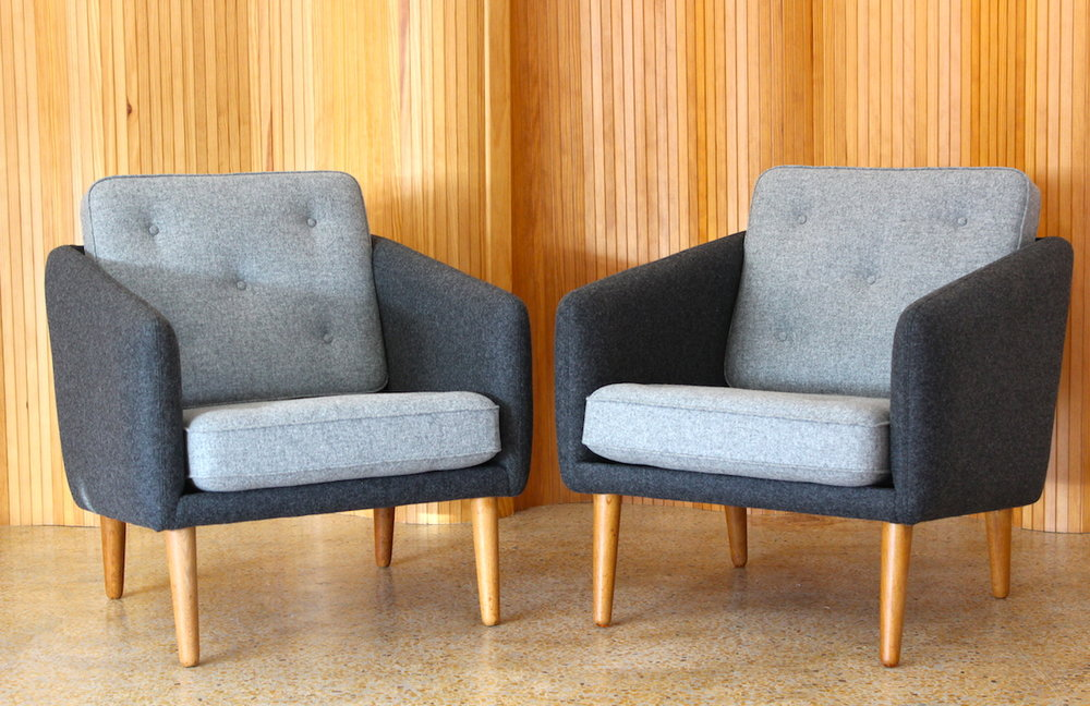 Pair of Borge Mogensen No.1 lounge chairs - manufactured by Fredericia, Denmark
