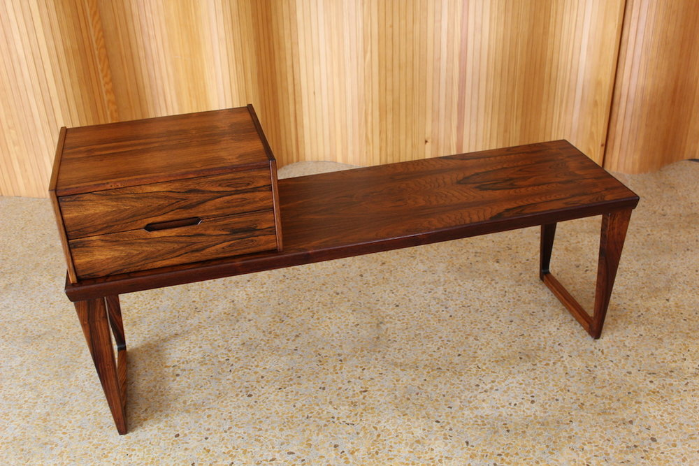 Aksel Kjersgaard / Kai Kristiansen rosewood low bench with two drawer chest