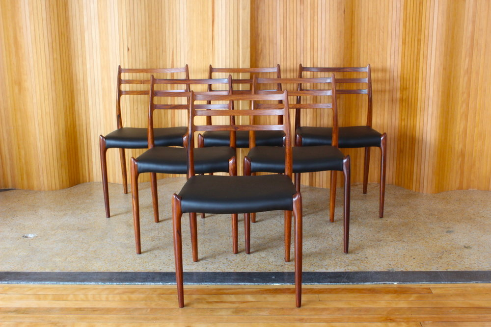 Set of six Niels O Moller rosewood dining chairs - model 78 - manufactured by JL Moller, Denmark.