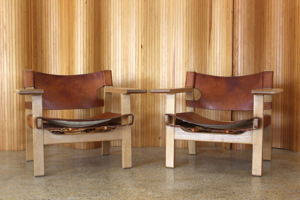 Pair of Borge Mogensen 'Spanish' chairs - Fredericia Stolefabrik, Denmark.