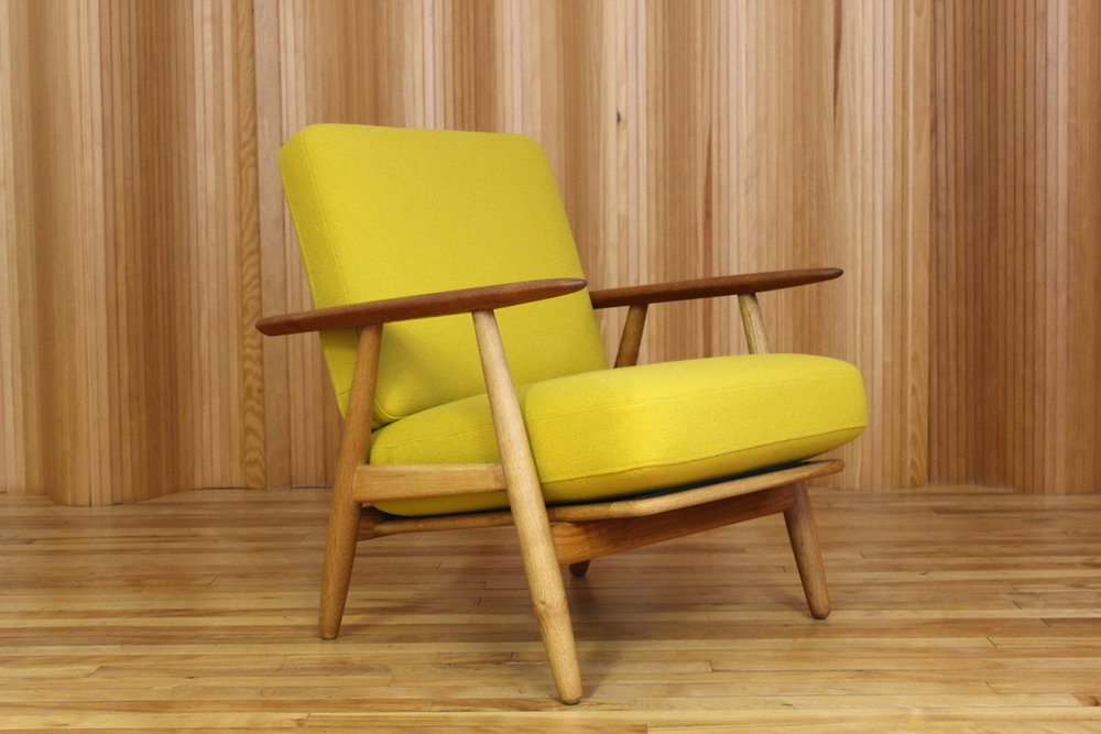 Hans Wegner oak and teak GE240 'Cigar' chair Getama Denmark