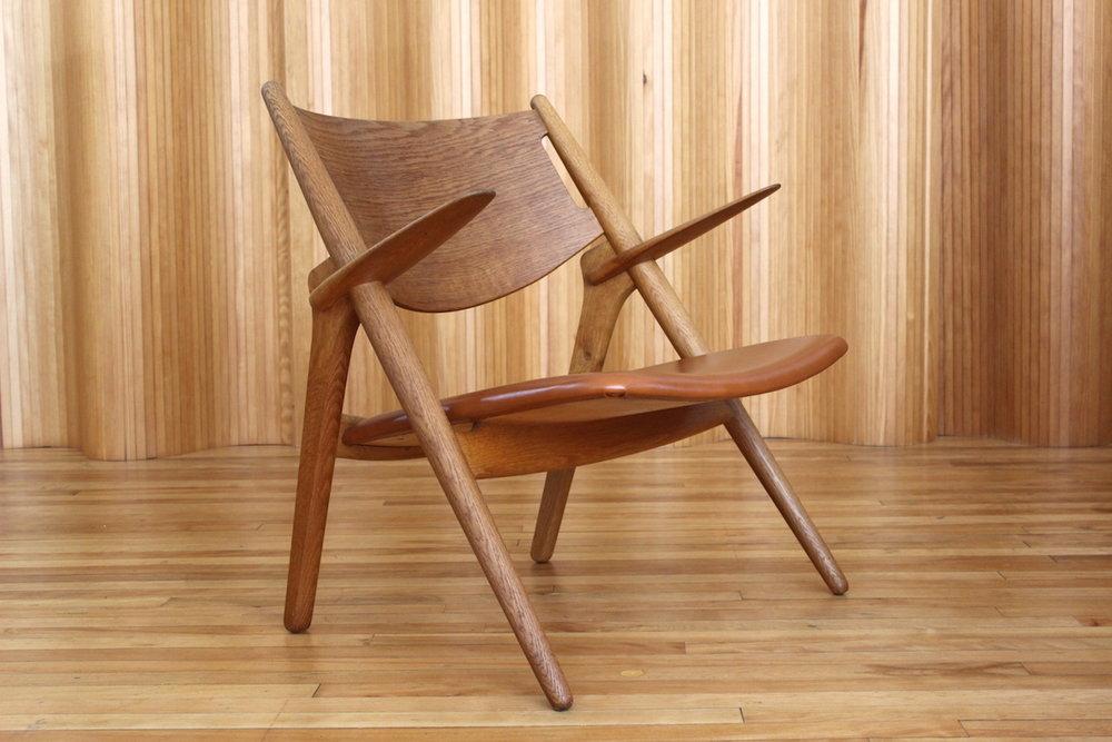 Hans Wegner CH28 'Sawbuck' 'Sawhorse' oak lounge chair Carl Hansen
