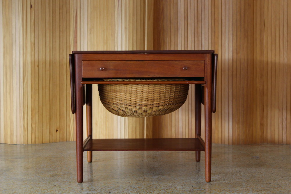 Hans Wegner teak sewing table - model AT33 - Andreas Tuck, Denmark, 1949