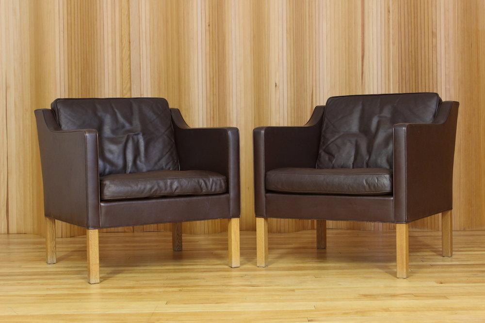 Borge Mogensen model 2421 lounge chairs Fredericia Stolefabrik Denmark