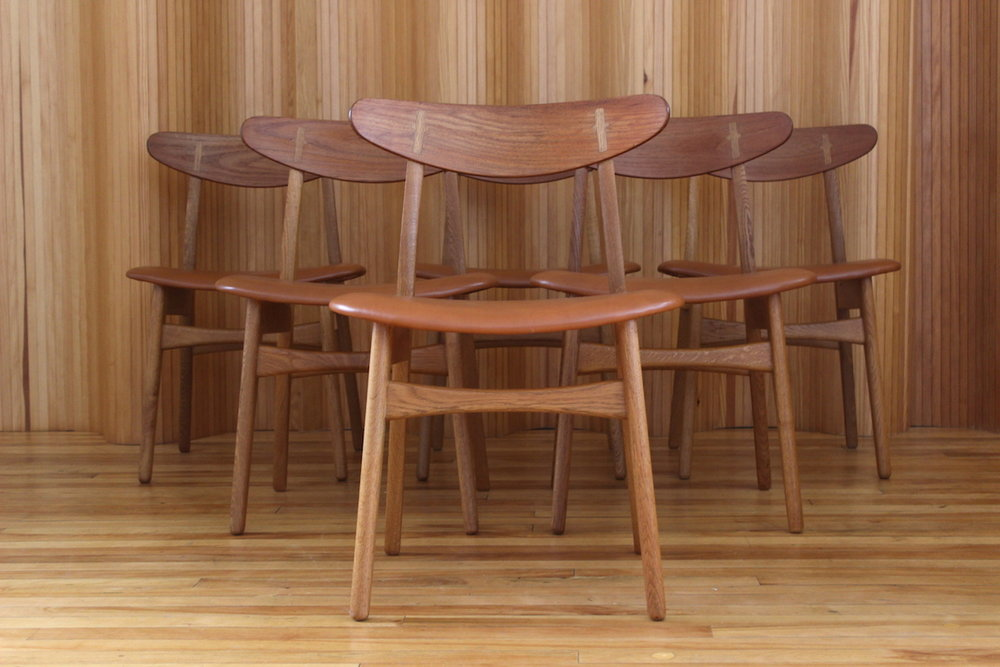 Hans Wegner oak and teak CH30 dining chairs Carl Hansen Denmark