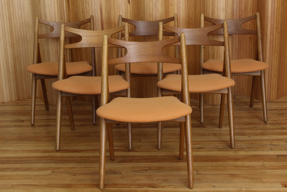 Set of 6 Hans Wegner 'Sawbuck' dining chairs, Carl Hansen & Son, Denmark