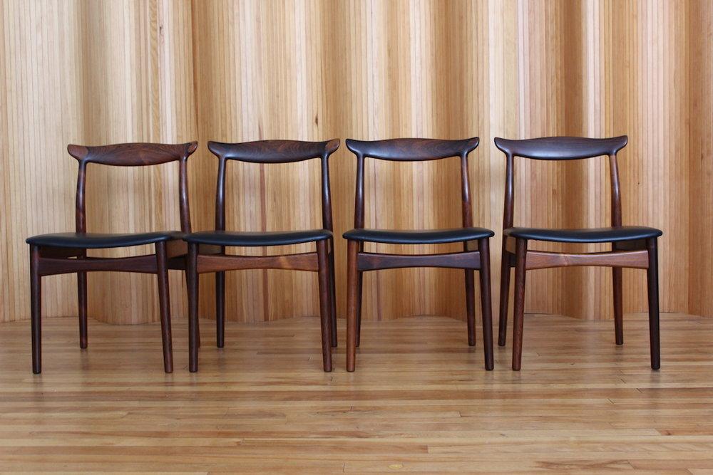 Set of four Erik Worts rosewood dining chairs Vamo Sonderborg Denmark